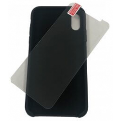 iPhone XR zwarte softcase +...